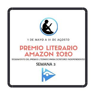 Banner del premio literarario amazon 2020 y subtítulo de semana 3 para el seguimiento semanal del concurso en Cruce de Caminos