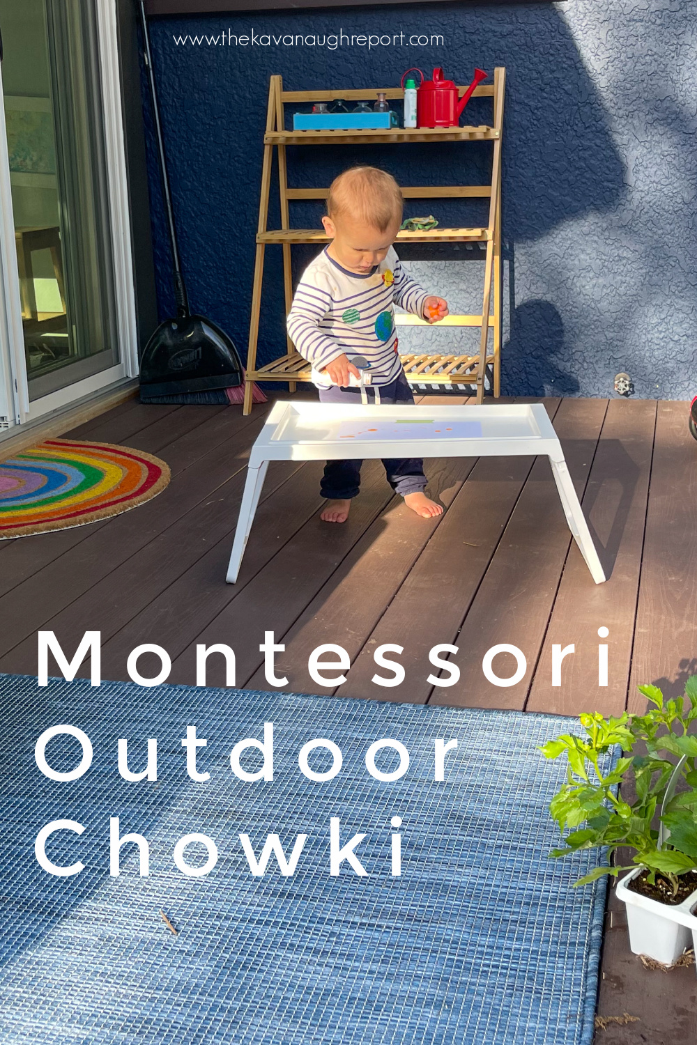 Create a Montessori outdoor space with a chowki. This perfect, easy to use IKEA is the perfect Montessori tip for an outdoor kids space.