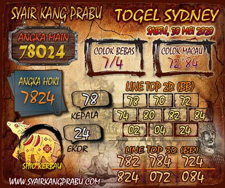 Prediksi Togel Sydney Sabtu 30 Mei 2020 - Syair Kang Prabu
