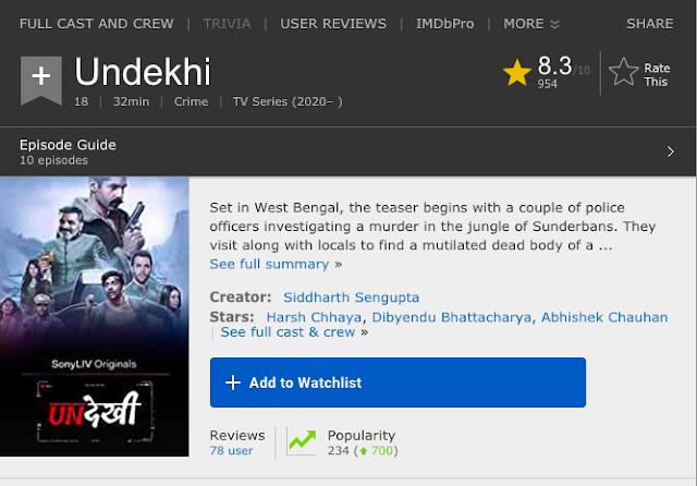 Download Undekhi (2020) S01 Hindi Sonyliv Originals WEB Series 480p   720p WEB-DL 1GB