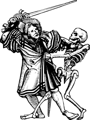 Man fighting skelleton