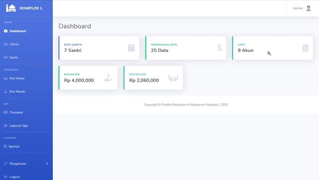 dashboard aplikasi pembayaran spp