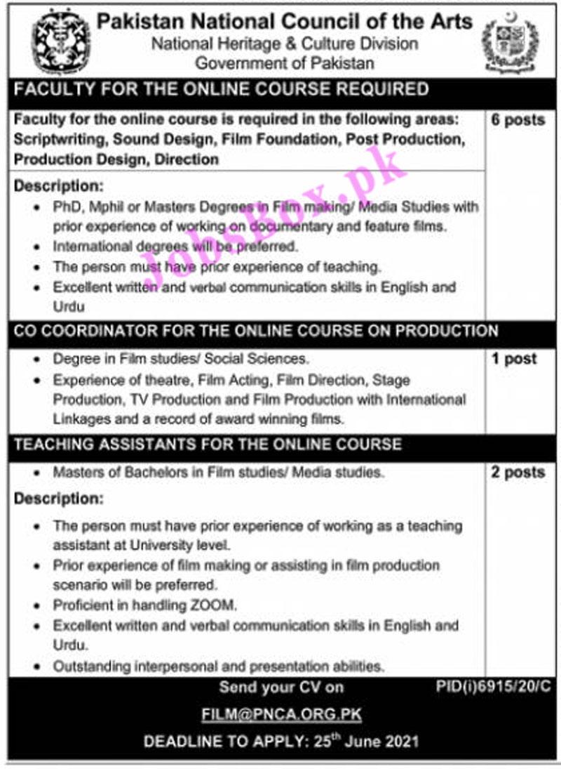 FILM@PNCA.ORG.PK - Pakistan National Council Of The Arts Jobs 2021 in Pakistan - PNCA Jobs 2021
