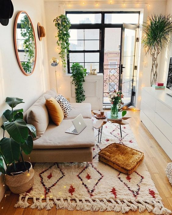 small living room design with plants