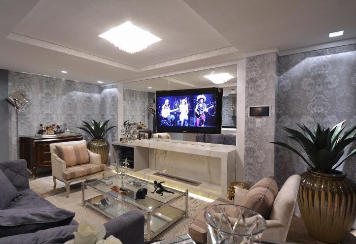 Construindo minha casa clean 13 salas modernas com for Paredes de salas modernas