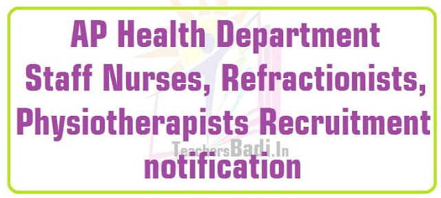 AP Staff Nurses,Refractionists,Physiotherapists Recruitment 2016 in Health Department