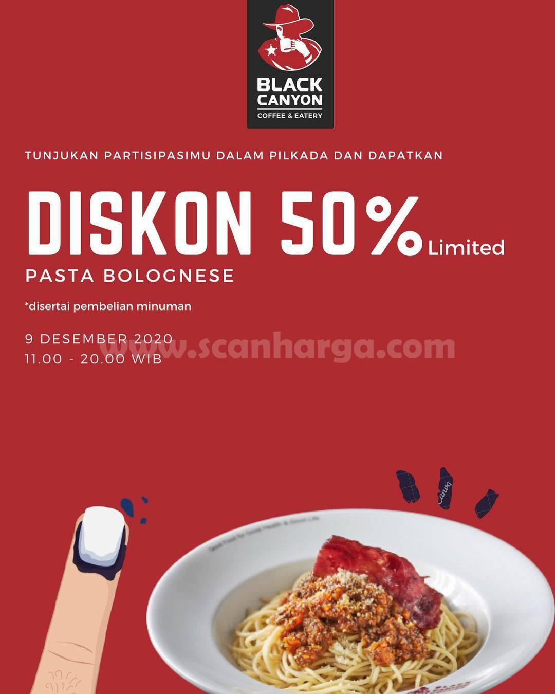 Promo Black Canyon Surabaya Pilkada - Diskon 50% pembelian Pasta Bolognese