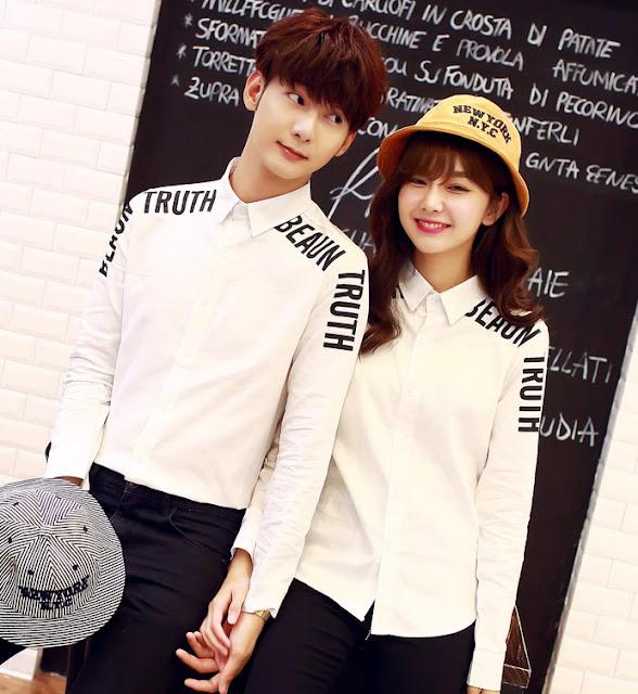 Desain Baju Kemeja Couple Korea Lengan Panjang Warna Putih