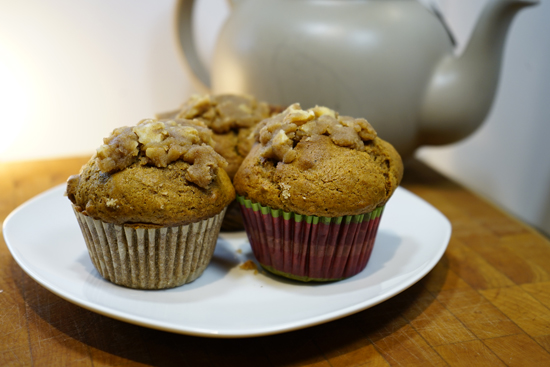 Pumpkin, Walnut and Date Muffins spiced with cinnamon, allspice and ginger.