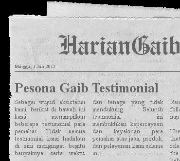 testimoni, testimonial, pesona gaib, pesonagaib, keris mini