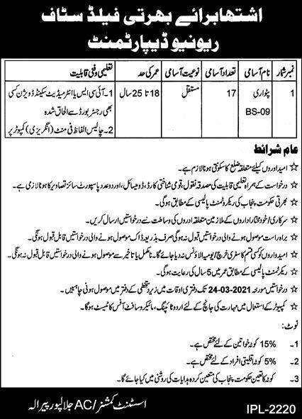Revenue Department Jobs 2021 in Jalalpur Pirwala