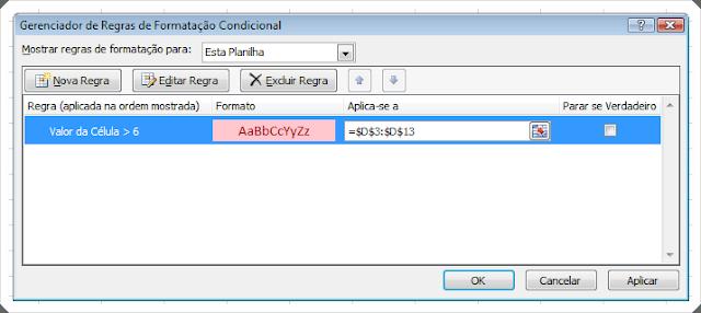 Formatação Condicional Excel