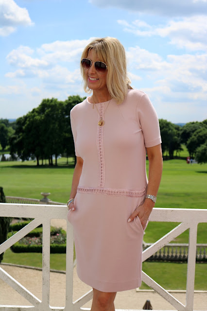 blush pink shift dress