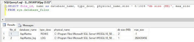 Using sys.database_files