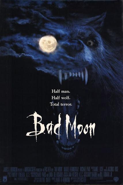 Movie poster for Morgan Creek Entertainment and Warner Bros. 1996 horror film Bad Moon, starring Mariel Hemingway, Mason Gamble, Michael Paré, Ken Pogue, and Hrothgar Mathews
