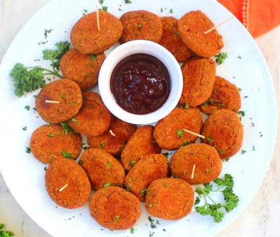 Sweet Potato Chickpea Nuggets #vegan #appetizers