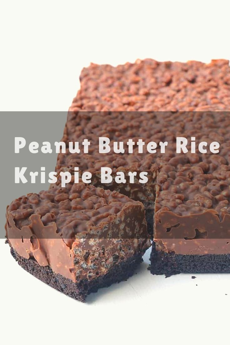 No bake chocolate peanut butter Rice Krispie bars with an Oreo crust