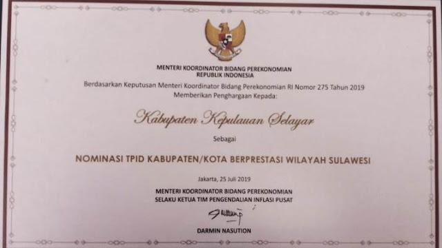 Kabupaten Kepulauan Selayar Masuk Nominasi Kota Berprestasi Wilayah Sulawesi, Pada TPID Award 2019