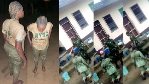 Military Police Arrest Female Soldier Caught On Camera Bathing NYSC Member With Unknown Substance