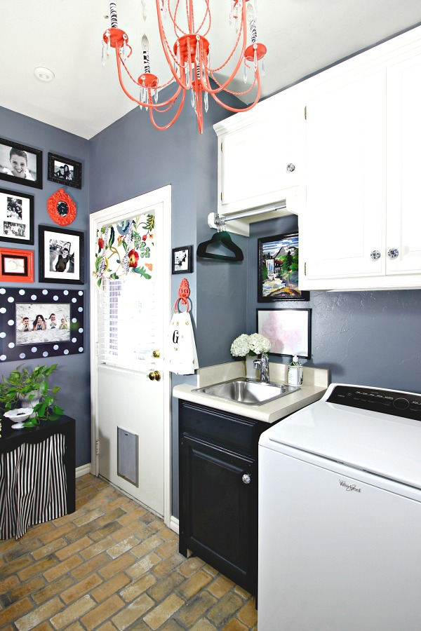 Laundry room, gallery wall, mudroom drop spot, how to hide the litter box