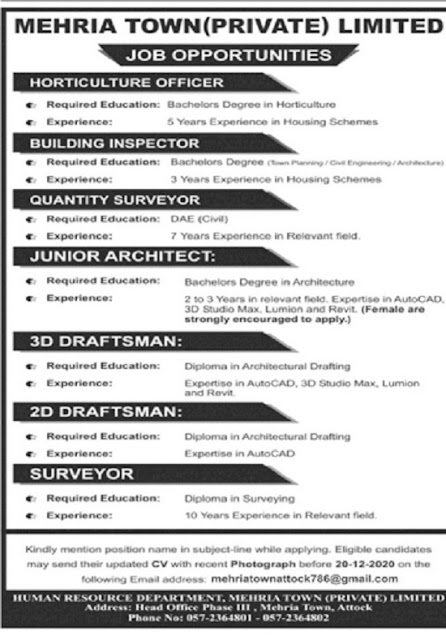 mehria-town-attock-jobs-2020-for-junior-architect
