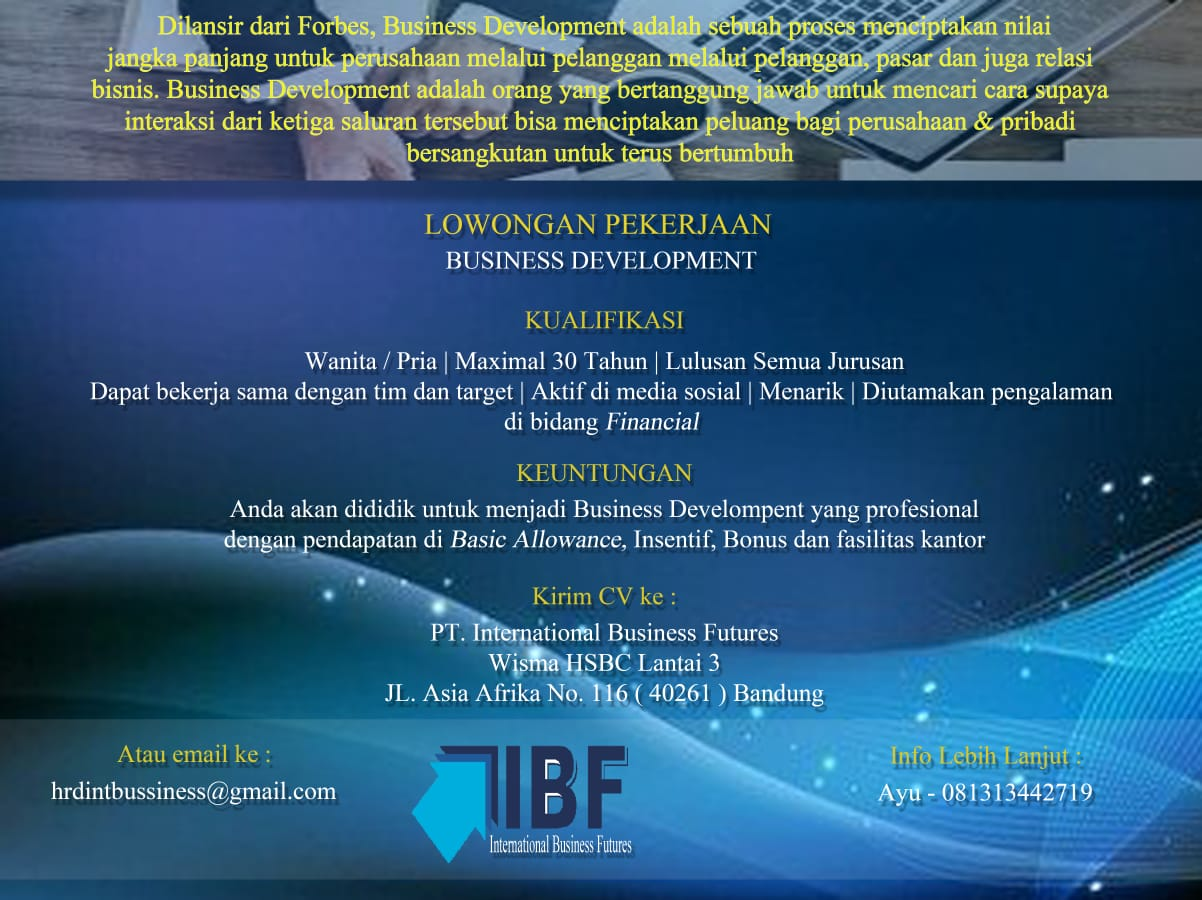 Lowongan Kerja PT. International Business Futures Bandung Agustus 2020