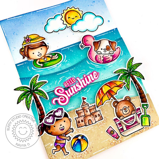 Sunny Studio Stamps: Beach Buddies Beach Babies Slimline Dies Tropical Scenes Beach Themed Summer Card by Kavya