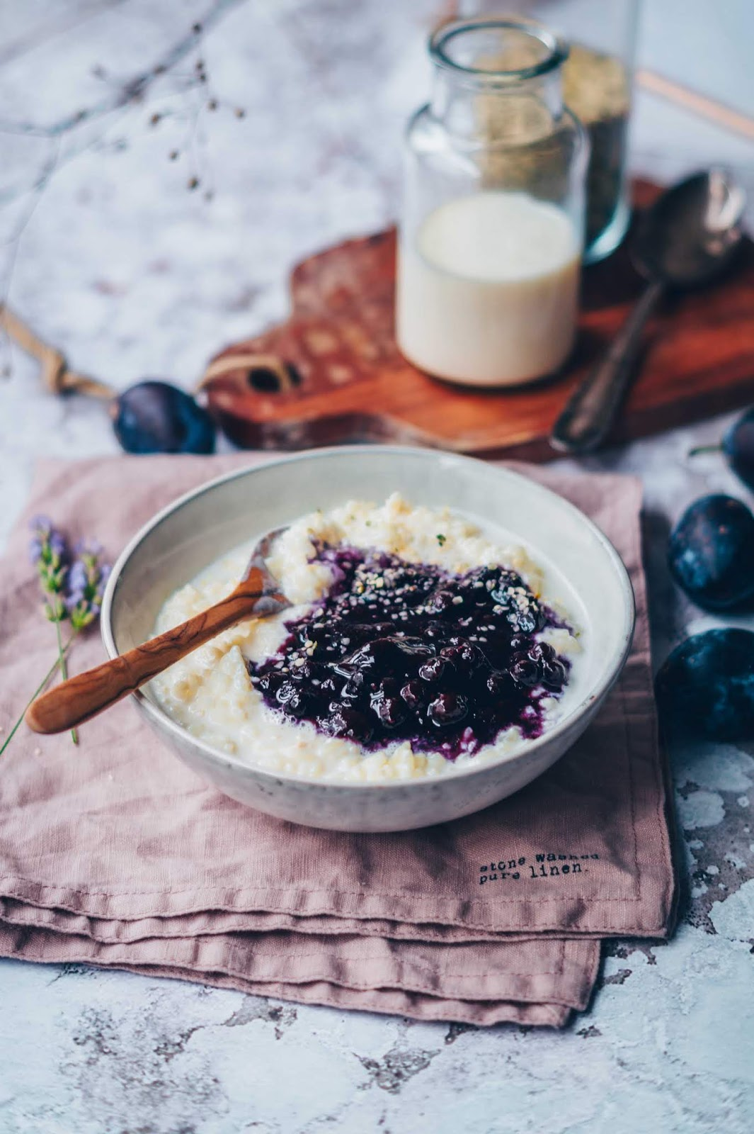 Vanilla Rice Pudding with Lavender Blueberry Compote. Need more recipes? 20 Tasty And Nourishing, Yet Quick Vegan Breakfast Recipes Ideas breakfast vegan | vegan food breakfast | vegan breakfast food | vegan healthy breakfast | vegan breakfast ideas #breakfast #vegan #veganideas #tasty