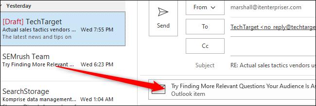انقر واسحب البريد الإلكتروني إلى نص البريد الإلكتروني الجديد