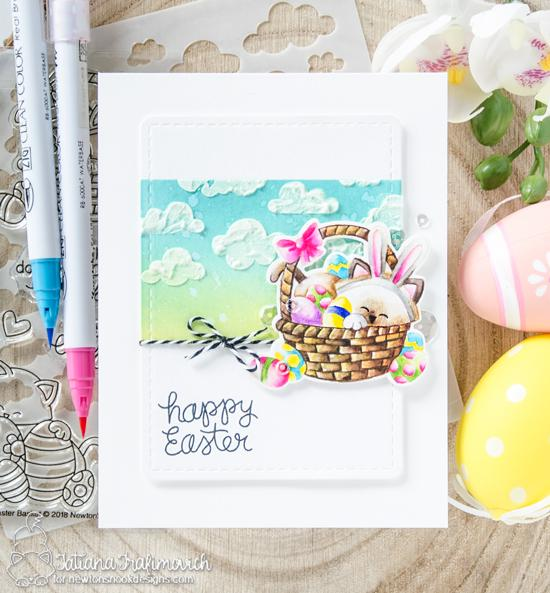 Happy Easter Kitty in Basket Card by Tatiana Trafimovich | Newton's Easter Basket Stamp Set & Cloudy Sky Stencil by Newton's Nook Designs #newtonsnook #handmade