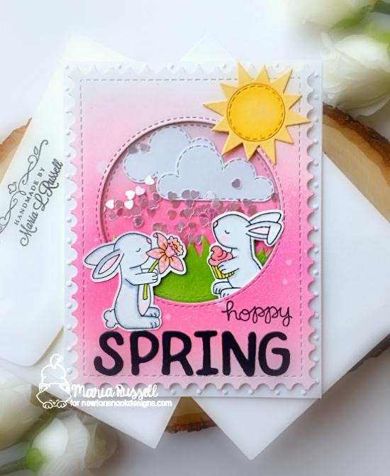 Hoppy Spring Card by Maria Russell | Hop Into Spring Stamp Set, Woodland Picnic Stamp Set, Framework Die Set, Sky Scene Builder Die Set, Land Borders Die Set and Essential Alphabet Die Set by Newton's Nook Designs #newtonsnook #handmade