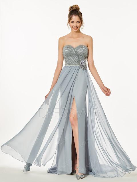 A Line Sweetheart Sleeveless Side-Slit Long Evening Party Dress