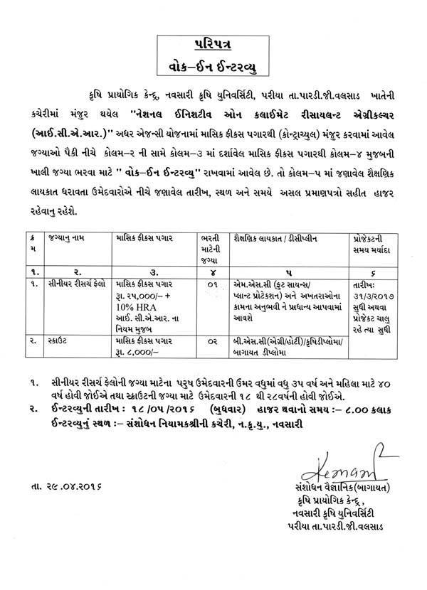 Navsari Agricultural University SRF and Scout Recruitment 2016