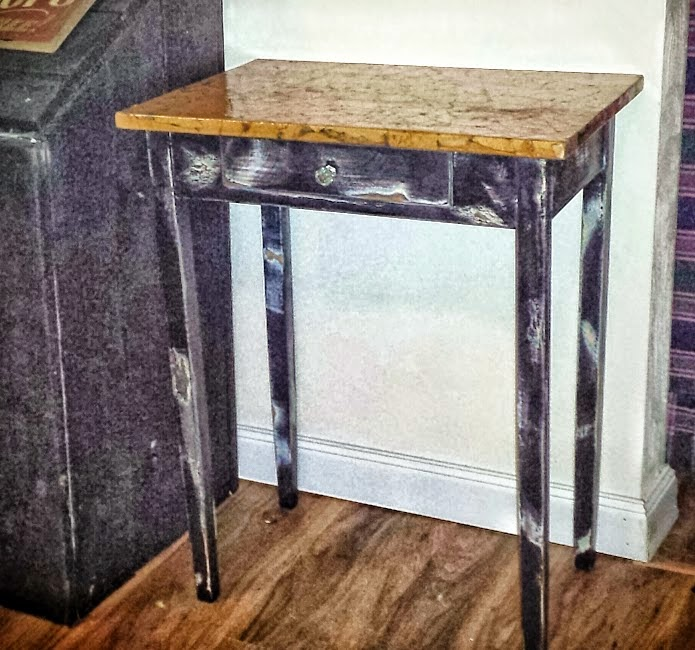 brown paper bag, console table, rustic table,