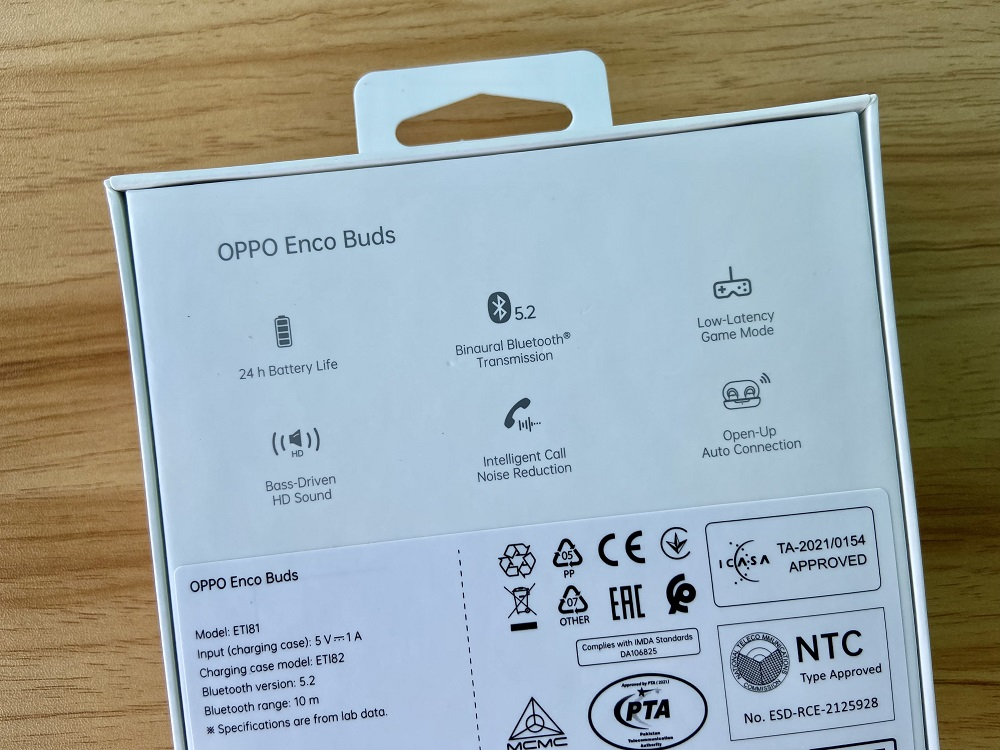 OPPO Enco Buds (W12) Retail Box Back