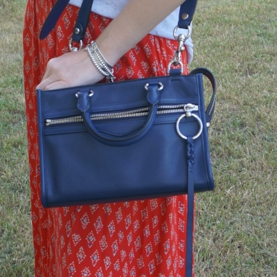 billabong bikini red printed maxi skirt with Rebecca Minkoff Micro Bedford zip satchel in twilight | awayfromtheblue