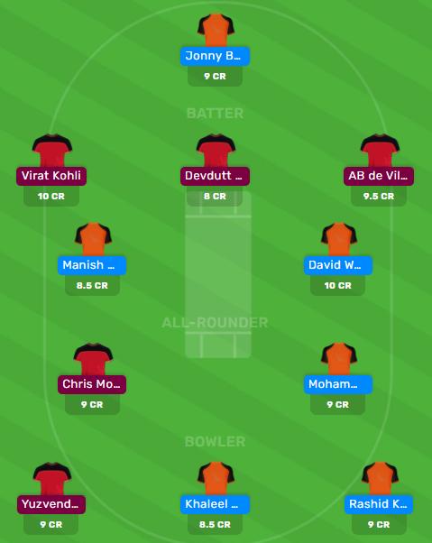 SRH vs RCB Dream11 IPL Fantasy Cricket Team