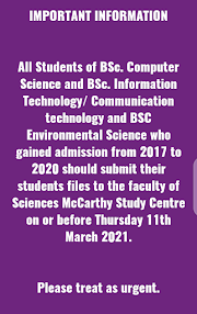Important Information To All Students