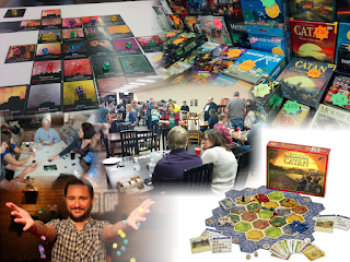 A collage of images representing the golden age of board games: a close up of a game of Asphodel in progress; a display of board games for sale; a large gathering of people at a board game cafe; a group of people playing The Resistance; Wil Wheaon dropping lots of dice on an episode of Tabletop; the game Settlers of Catan set up as a demo display.