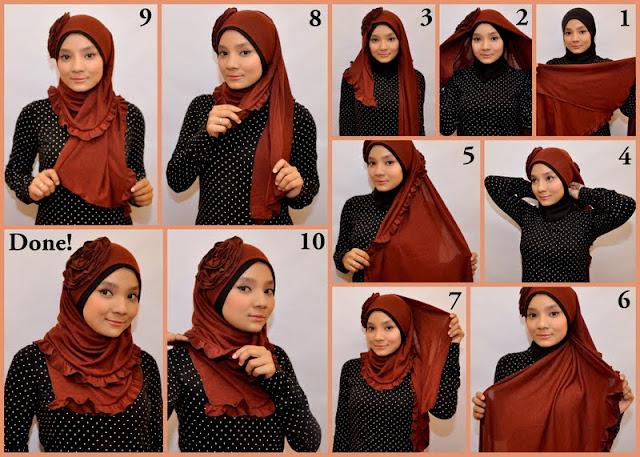 Foto gambar model jilbab elzatta segi empat terbaru 2016 dan cara memakainya