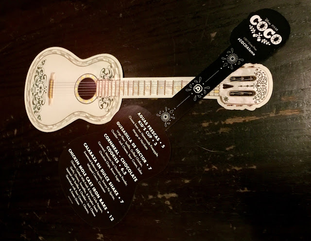 Alamo Drafthouse guitar-shaped menu for Coco screening.