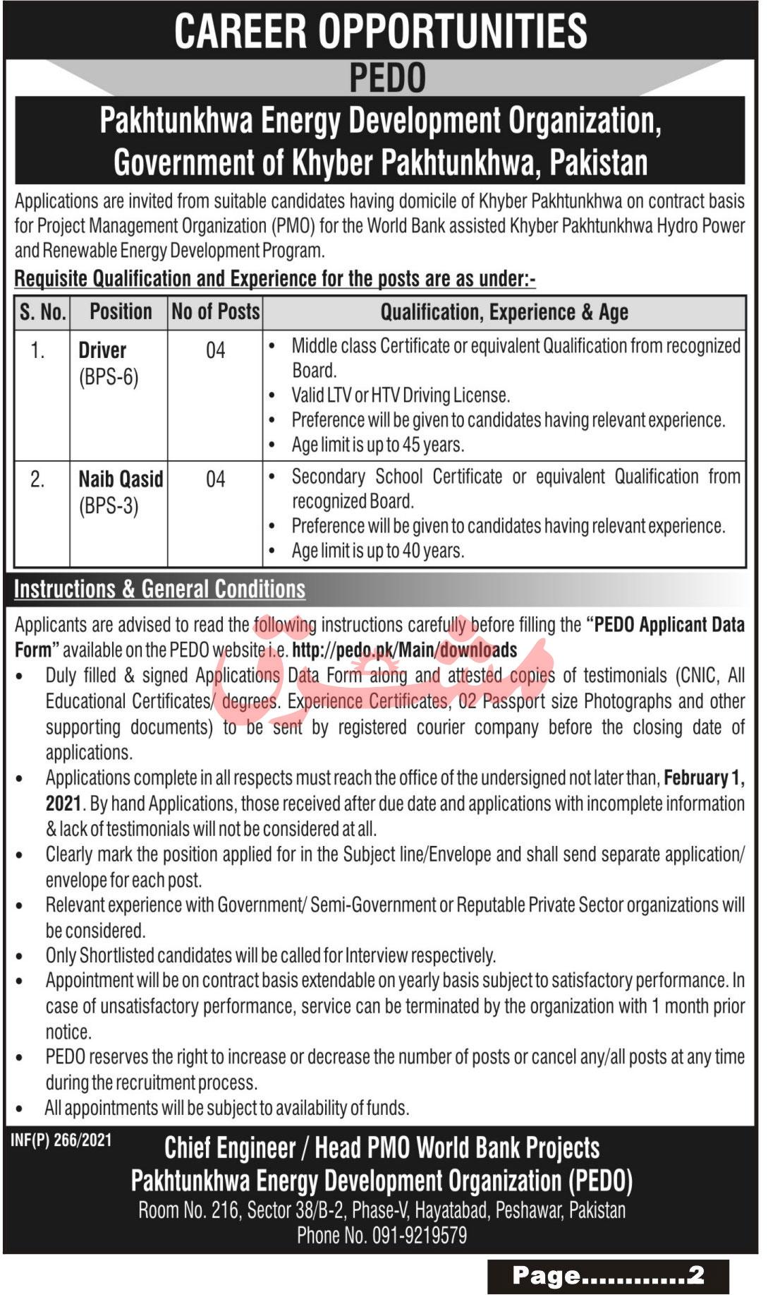 PEDO Applicant Data Form - pedo.pk/Main/downloads - Pakhtunkhwa Energy Development Organization Jobs 2021 - PEDO Jobs 2021