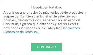 TestaBox mayo 2017: cambio de condiciones