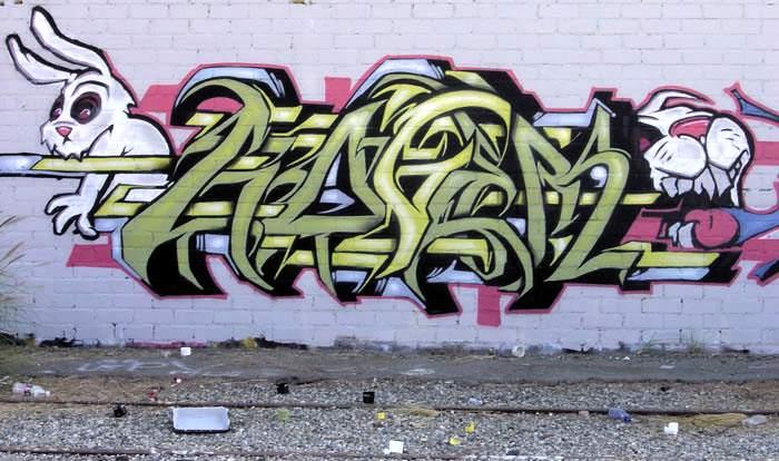 T Alphabet Cute Wallpaper Rabbit Graffiti Art Wallpaper