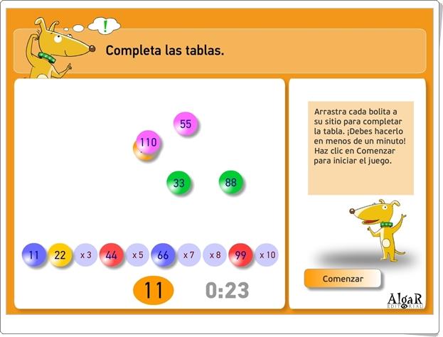 """""""Completa las tablas"""" (Juego de Matemáticas de Primaria)"""