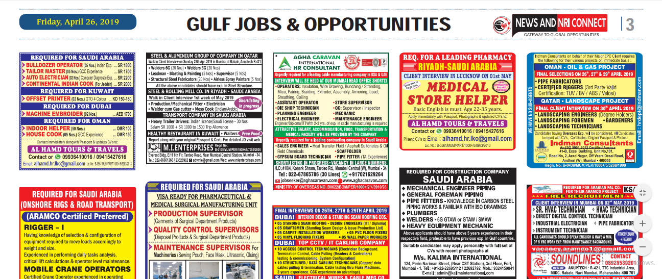 News and Nri Connect Gulf Jobs Paper-27th April 2019
