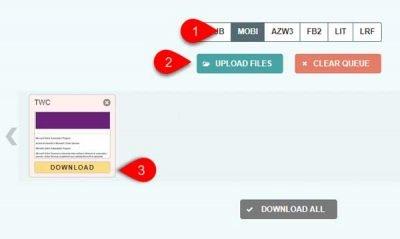 Free online EPUB to MOBI converter tool