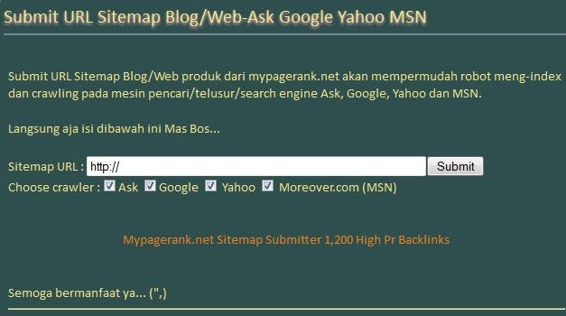 Submit URL Sitemap Blog/Web-Ask Google Yahoo MSN
