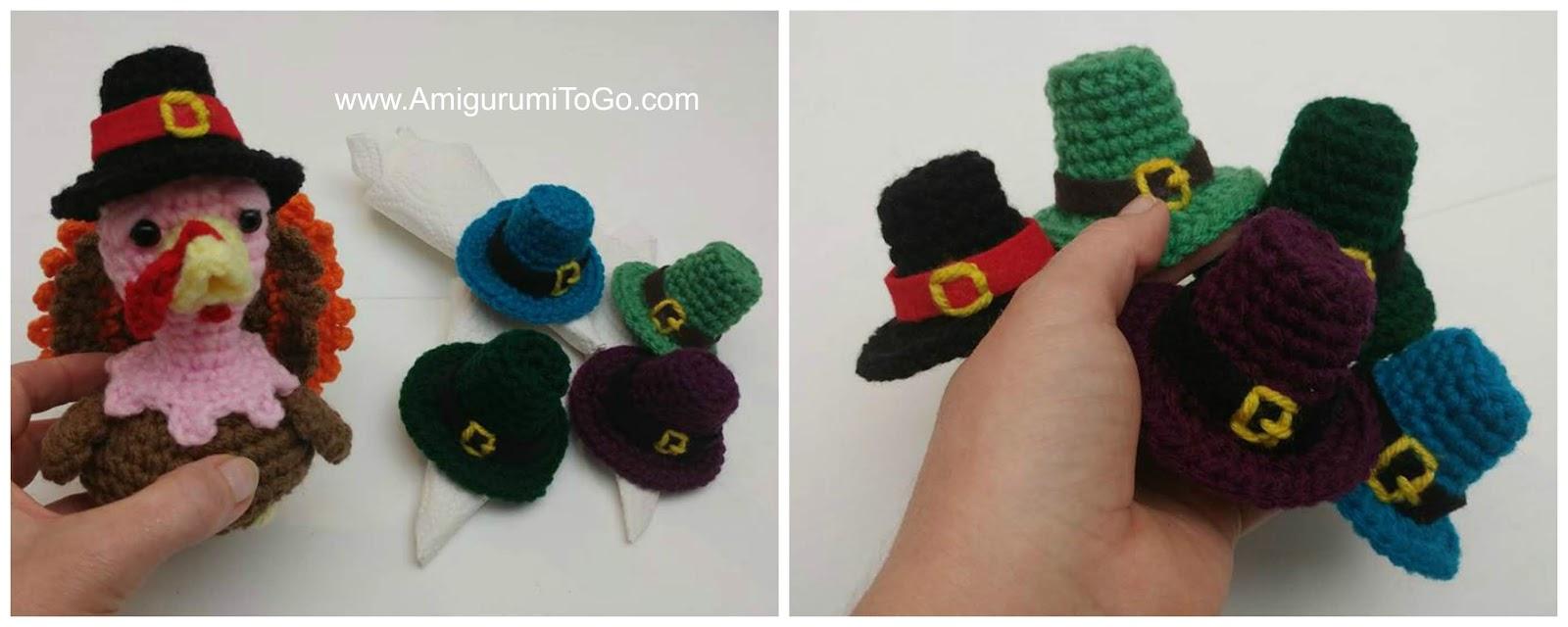 crochet turkey and hat napkin rings