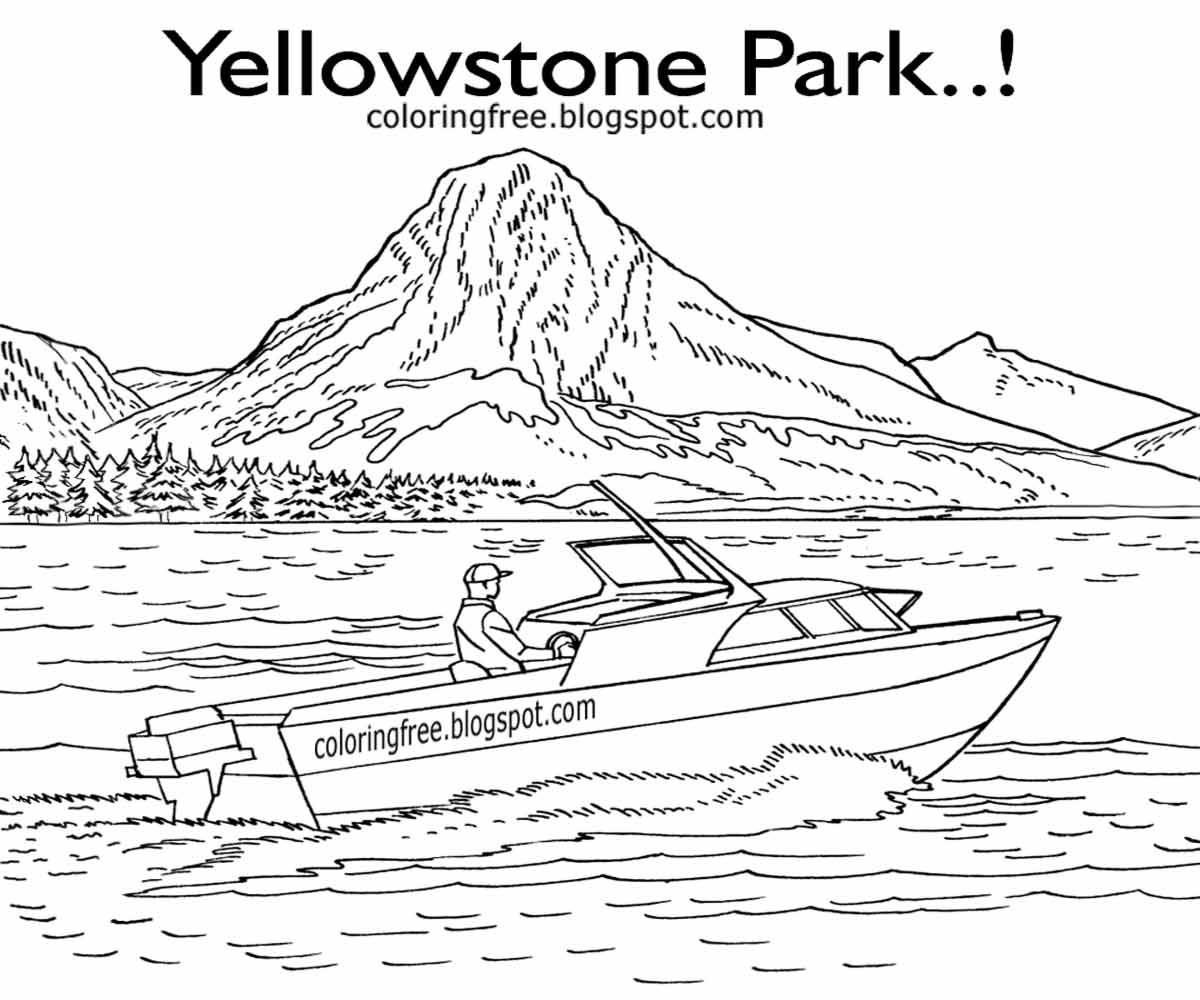 Printable Yellowstone Park Coloring American Wildlife Kids